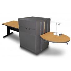 Rectangular Table with Media Center, Adjustable Height Platform, Steel Doors - (Oak Laminate)