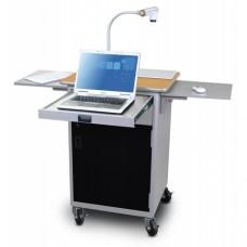 Marvel Vizion Instructor Series Teacher Workstation with Acrylic Door, Storage Area, Two Flip-up Shelves, a Front Pullout Shelf - (Oak Laminate)