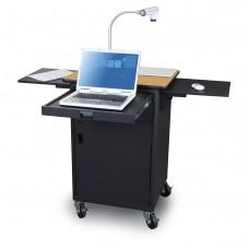 Marvel Vizion Instructor Series Teacher Workstation with Metal Door, Storage Area, Two Flip-up Shelves, a Front Pullout Shelf - (Oak Laminate)