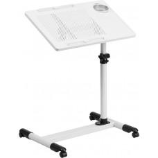 White Adjustable Height Steel Mobile Computer Desk [NAN-JG-06B-WH-GG]