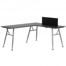 Black Laminate L-Shape Computer Desk with Silver Frame Finish [NAN-WK-110-BK-GG]