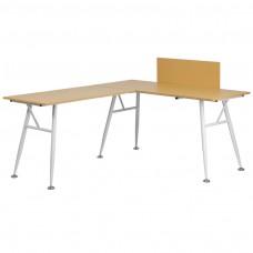 Beech Laminate L-Shape Computer Desk with White Frame Finish [NAN-WK-110-GG]