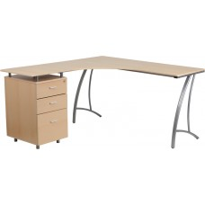 Beech Laminate L-Shape Desk with Three Drawer Pedestal [NAN-WK-113-GG]