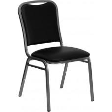 HERCULES Series Stacking Banquet Chair in Black Vinyl - Silver Vein Frame [NG-108-SV-BK-VYL-GG]