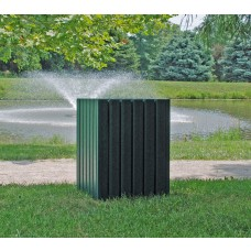 Heavy-Duty Square Receptacle - Green - 32 Gallon