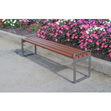 Plaza Backless Bench - Redwood - 6 Foot
