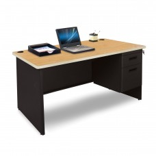 Pronto Single Pedestal Desk, 48W x 30D - Oak Laminate and Black Finish