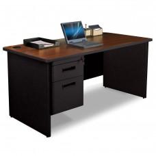 Pronto Single Pedestal Desk, 60W x 30D - Mahogany Laminate and Black Finish