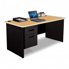Pronto Single Pedestal Desk, 60W x 30D - Oak Laminate and Black Finish