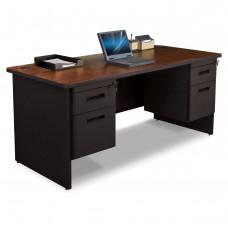 Pronto Double Pedestal Desk, 66W x 30D - Mahogany Laminate and Black Finish