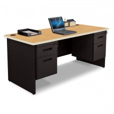 Pronto Double Pedestal Desk, 66W x 30D - Oak Laminate and Black Finish