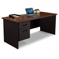 Pronto Single Pedestal Desk, 66W x 30D - Mahogany Laminate and Black Finish