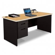 Pronto Single Pedestal Desk, 66W x 30D - Oak Laminate and Black Finish