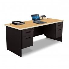 Pronto Double Pedestal Desk, 72W x 30D - Oak Laminate and Black Finish