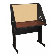 Pronto School Training Table with Carrel and Modesty Panel Back, 36W x 30D - Dark Neutral Finish and Beryl Fabric