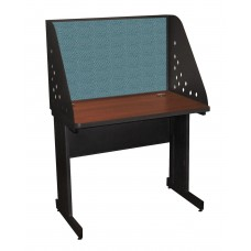 Pronto School Training Table with Carrel and Modesty Panel Back, 36W x 30D - Dark Neutral Finish and Slate Fabric