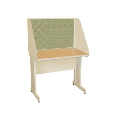 Pronto School Training Table with Carrel and Modesty Panel Back, 36W x 30D - Putty  Finish and Peridot Fabric