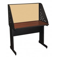 Pronto School Training Table with Carrel and Modesty Panel Back, 42W x 30D - Dark Neutral Finish and Beryl Fabric