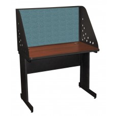 Pronto School Training Table with Carrel and Modesty Panel Back, 42W x 30D - Dark Neutral Finish and Slate Fabric