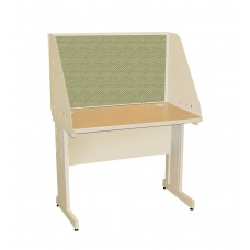 Pronto School Training Table with Carrel and Modesty Panel Back, 42W x 30D - Putty  Finish and Peridot Fabric