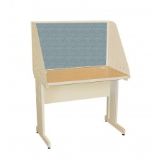 Pronto School Training Table with Carrel and Modesty Panel Back, 42W x 30D - Putty Finish and Slate Fabric