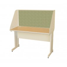 Pronto School Training Table with Carrel and Modesty Panel Back, 48W x 24D - Putty  Finish and Peridot Fabric