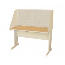 Pronto School Training Table with Carrel and Modesty Panel Back, 48W x 24D - Putty  Finish and Chalk Fabric