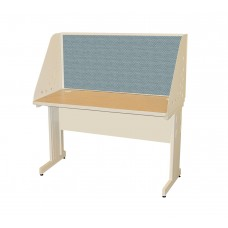 Pronto School Training Table with Carrel and Modesty Panel Back, 48W x 24D - Putty Finish and Slate Fabric