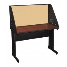 Pronto School Training Table with Carrel and Modesty Panel Back, 48W x 30D - Dark Neutral Finish and Beryl Fabric
