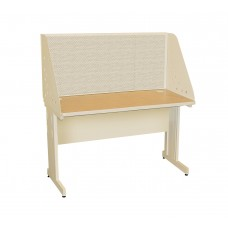 Pronto School Training Table with Carrel and Modesty Panel Back, 48W x 30D - Putty  Finish and Chalk Fabric