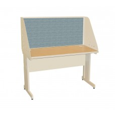Pronto School Training Table with Carrel and Modesty Panel Back, 48W x 30D - Putty Finish and Slate Fabric