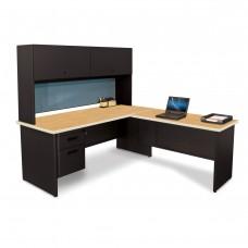 Pronto Desk with Return, 72W x 78D:Black/Oak, Slate