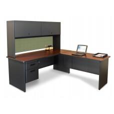 Pronto Desk with Return, 72W x 78D:Dark Neutral/Peridot