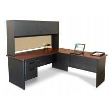 Pronto Desk with Return, 72W x 78D:Dark Neutral/Beryl