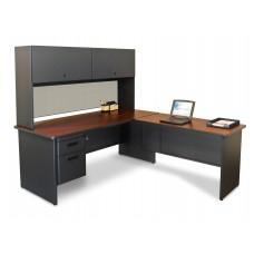 Pronto Desk with Return, 72W x 78D:Dark Neutral/Chalk