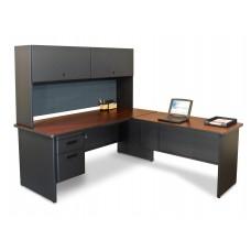 Pronto Desk with Return, 72W x 78D:Dark Neutral/Slate