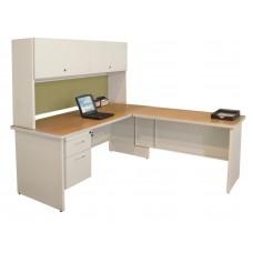 Pronto Desk with Return, 72W x 78D:Putty/Peridot