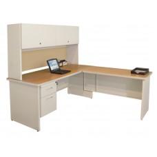 Pronto Desk with Return, 72W x 78D:Putty/Beryl