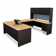 Pronto U-Shaped Desk with Flipper Door Unit, 8'6W x 6' D:Black/Oak, Slate