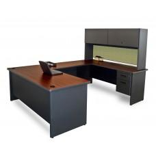 Pronto U-Shaped Desk with Flipper Door Unit, 8'6W x 6' D:Dark Neutral/Peridot