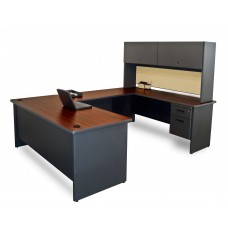 Pronto U-Shaped Desk with Flipper Door Unit, 8'6W x 6' D:Dark Neutral/Beryl