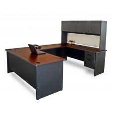 Pronto U-Shaped Desk with Flipper Door Unit, 8'6W x 6' D:Dark Neutral/Chalk