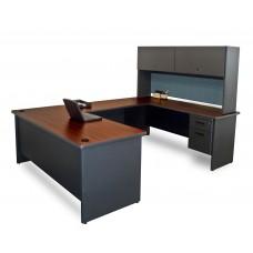 Pronto U-Shaped Desk with Flipper Door Unit, 8'6W x 6' D:Dark Neutral/Slate