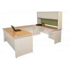 Pronto U-Shaped Desk with Flipper Door Unit, 8'6W x 6' D:Putty/Peridot
