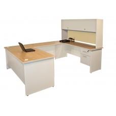 Pronto U-Shaped Desk with Flipper Door Unit, 8'6W x 6' D:Putty/Beryl