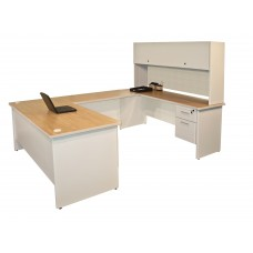 Pronto U-Shaped Desk with Flipper Door Unit, 8'6W x 6' D:Putty/Chalk