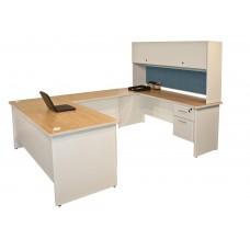 Pronto U-Shaped Desk with Flipper Door Unit, 8'6W x 6' D:Putty/Slate