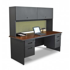 "Pronto 72"" Double File Desk with Flipper Door Cabinet, 72W x 30D:Dark Neutral/Peridot"