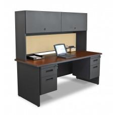 "Pronto 72"" Double File Desk with Flipper Door Cabinet, 72W x 30D:Dark Neutral/Beryl"