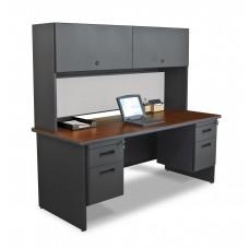 "Pronto 72"" Double File Desk with Flipper Door Cabinet, 72W x 30D:Dark Neutral/Chalk"